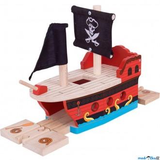 Vláčkodráhy - Vláčkodráha trajekt - Pirátská galéra (Bigjigs)