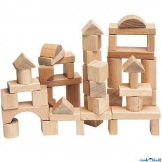 Stavebnice - Kostky - Dřevěné přírodní, 50ks (Woody)