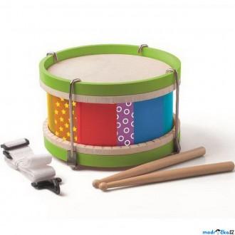 Dřevěné hračky - Hudba - Buben větší s popruhem, 22cm (Woody)