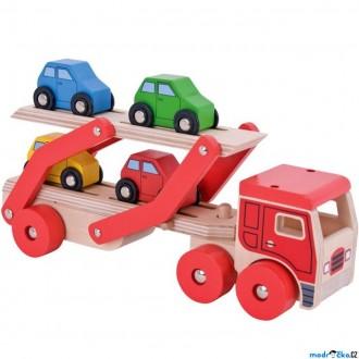 Dřevěné hračky - Auto - Transportér patrový se 4 auty (Bigjigs)