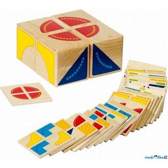 Stavebnice - Kostky obrázkové 4ks - Skladačka se vzory (Goki)