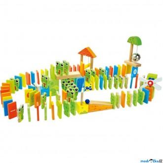 Dřevěné hračky - Dominová dráha - Domino Rally žábky (Legler)