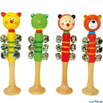 Dřevěné hračky - Hudba - Zvonkohra s 9 rolničkami, Zvířátka, 1ks (Bino)