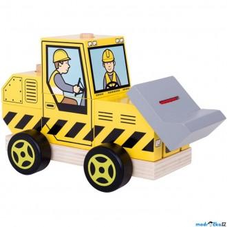 Dřevěné hračky - Auto skládací - Buldozer (Bigjigs)