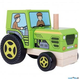Dřevěné hračky - Auto skládací - Traktor (Bigjigs)