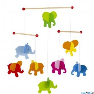 Dřevěné hračky - Kolotoč závěsný dřevěný - Sloni (Goki)