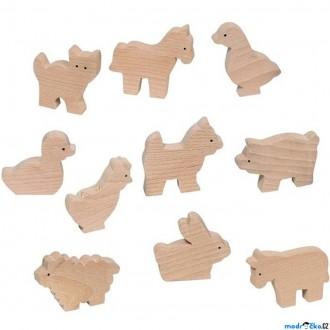 Dřevěné hračky - Zvířátka dřevěné - Přírodní k vymalování, 10ks (Goki)