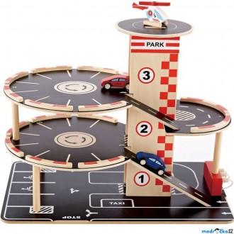 Dřevěné hračky - Garáž dřevěná - Vícepatrová s výtahem (Hape)