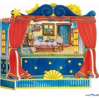 Dřevěné hračky - Divadlo - Dřevěné pro prstové maňásky včetně kulis (Goki)