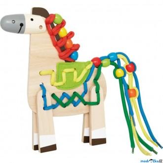 Dřevěné hračky - Šití - Kreativní hračka, Šněrovací dřevěný koník (Hape)