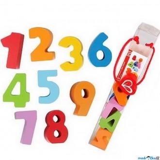 Dřevěné hračky - Číslice - Sada čísel barevných v tubě, 10ks (Hape)