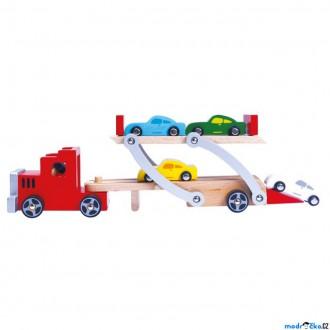 Dřevěné hračky - Auto - Tahač patrový se 4 auty (Bino)