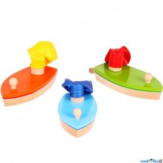 Dřevěné hračky - Drobné hračky - Loďka s balónkovým pohonem, 1ks (Bigjigs)