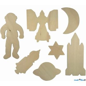 Dřevěné hračky - Kreslení - Šablony, Dřevěné Vesmír, 7ks (Bigjigs)