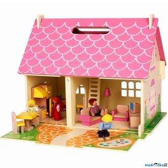 Dřevěné hračky - Domeček pro panenky - Přenosný růžový s vybavením (Bigjigs)