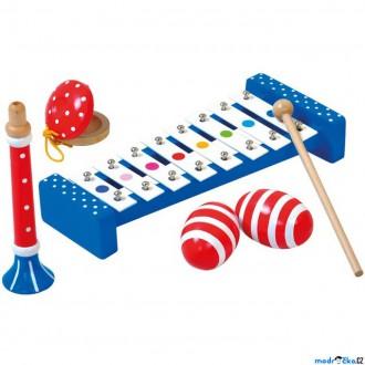 Dřevěné hračky - Hudba - Muzikální set s trumpetou, 4 nástroje (Bino)