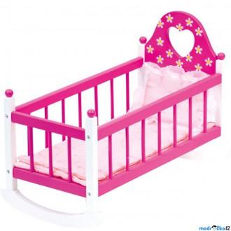 Dřevěné hračky - Kolébka pro panenky - Růžová s peřinkami (Bino)