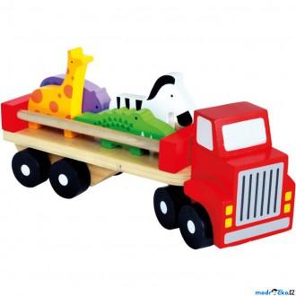 Dřevěné hračky - Auto - Náklaďák se zvířaty (Bino)