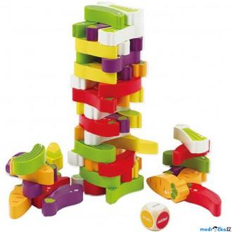 Dřevěné hračky - Jenga barevná - Zelenina, Společenská hra (Hape)