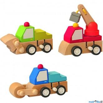 Dřevěné hračky - Auto - Natahovací autíčko, Stavební stroje B, 1ks (Woody)