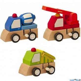 Dřevěné hračky - Auto - Natahovací autíčko, Stavební stroje A, 1ks (Woody)