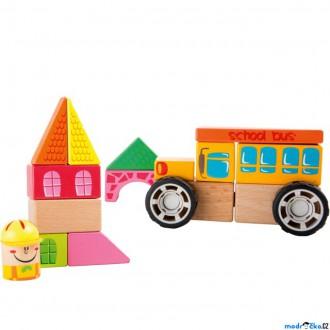 Stavebnice - Stavebnice - Auto s kostkami, Školní autobus (Legler)