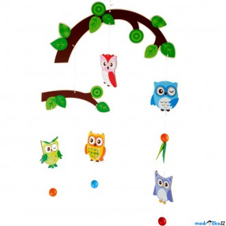 Dřevěné hračky - Kolotoč závěsný dřevěný - Sovičky (Legler)