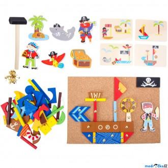 Dřevěné hračky - Hra s kladívkem - Deska s přibíjecími tvary, Pirát (Legler)