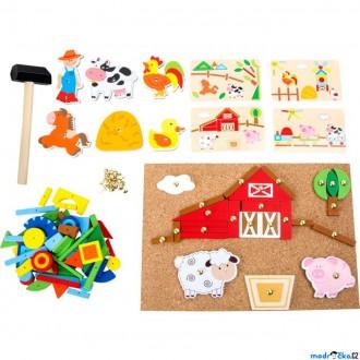 Dřevěné hračky - Hra s kladívkem - Deska s přibíjecími tvary, Farma (Legler)