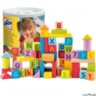 Stavebnice - Kostky - Barevné v kyblíku, Vhazovačka, ABC a čísla, 60ks (Woody)
