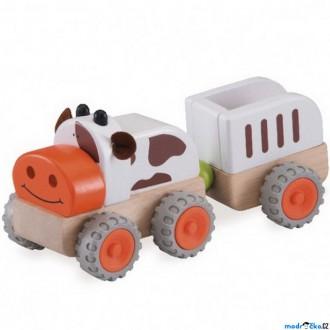 Dřevěné hračky - Auto - Miniworld, Traktor kravička dřevěný (Wonderworld)