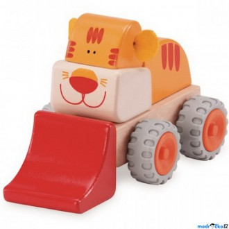 Dřevěné hračky - Auto - Miniworld, Nakladač tygřík dřevěný (Wonderworld)