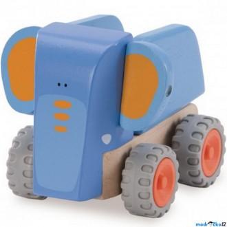 Dřevěné hračky - Auto - Miniworld, Sklápěč slon dřevěný (Wonderworld)