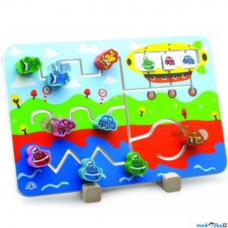 Dřevěné hračky - Motorický labyrint - Dopravní prostředky (Wonderworld)