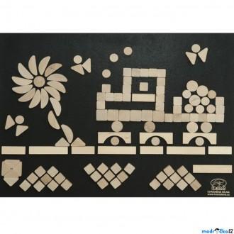 Dřevěné hračky - Hrací stěna - Suchý zip, 125 dílků, 70x50cm