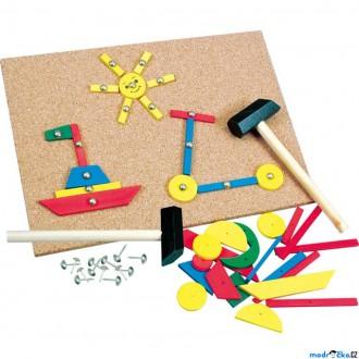 Dřevěné hračky - Hra s kladívkem - Deska s přibíjecími tvary (Bino)