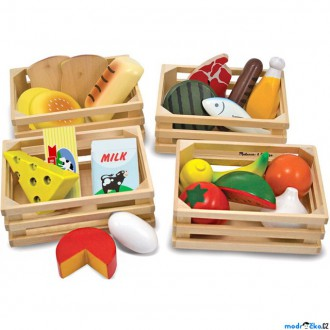 Dřevěné hračky - Dekorace prodejny - Přepravky s potravinami, 4ks (M&D)