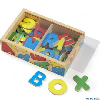 Dřevěné hračky - Magnetky - Dřevěná magnetická písmena, 52ks (M&D)