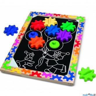 Dřevěné hračky - Skládačka - Ozubená kola na magnetické desce (M&D)