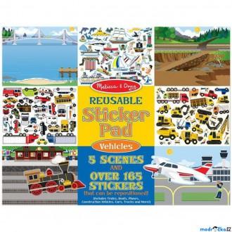 Dřevěné hračky - Samolepky - Opakovaně použitelné, Vozidla, 165ks (M&D)