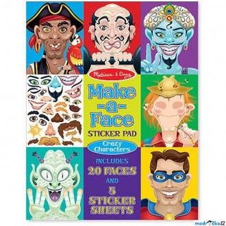 Dřevěné hračky - Samolepky - Vytvoř obličej, Bláznivé obličeje, 160ks (M&D)