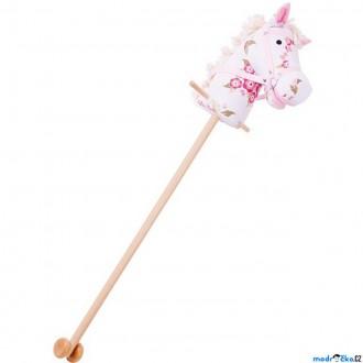 Dřevěné hračky - Koňská hlava na tyči - Dívčí s květy (Bigjigs)