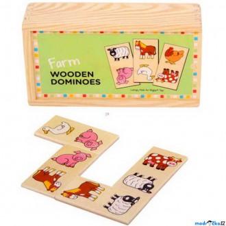 Dřevěné hračky - Domino - Zvířátka na farmě, 28ks (Bigjigs)