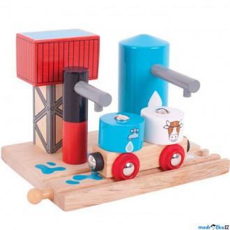 Vláčkodráhy - Vláčkodráha budovy - Skladiště mléka a vody (Bigjigs)
