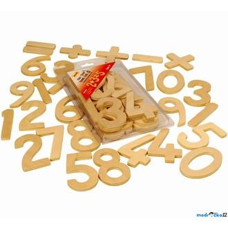 Dřevěné hračky - Číslice - Sada čísel přírodních 9cm (Bigjigs)