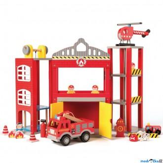 Dřevěné hračky - Hasičská stanice - Dřevěná velká s autíčky (Woody)