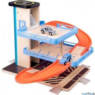 Dřevěné hračky - Garáž dřevo/plast - S výtahem a příslušenstvím (Woody)