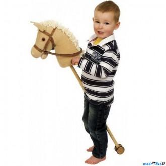 Dřevěné hračky - Koňská hlava na tyči - Hnědý manšestr (Bigjigs)