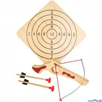 Dřevěné hračky - Dětská zbraň - Kuše menší s šípy a terčem (Legler)