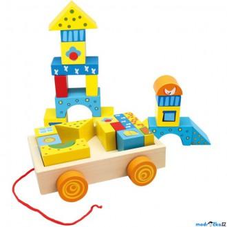 Dřevěné hračky - Kostky - Barevné ve vozíku, menší, 19ks (Bino)